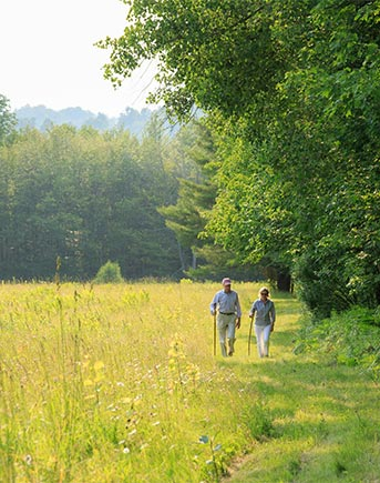 A couple hikes along a trail at the edge of a forest
