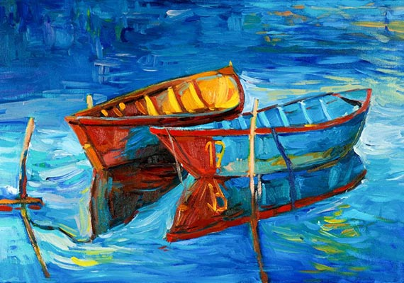 A painting of two boats in a pond