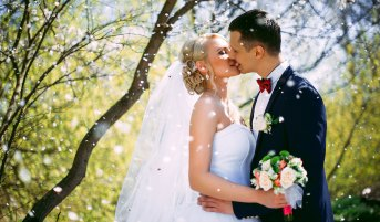 Vermont Destination Wedding - Bride and Groom Outside