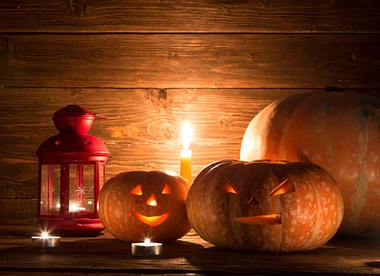 Lantern and pumpkins